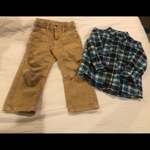 Toddler plaid button up and color jean set.